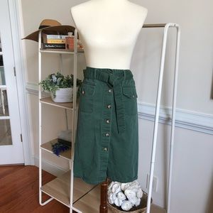 Vintage front button down green skirt plus size